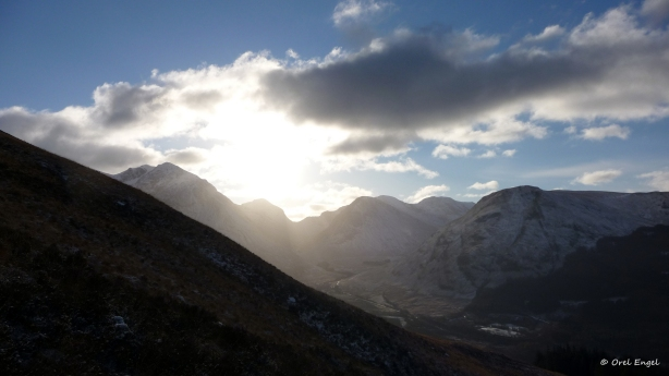 Sun over the valley of Glencoe