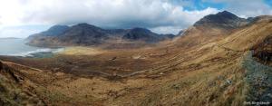 Bla Bheinn, the Cuillin ridge and Loch Scavaig.
